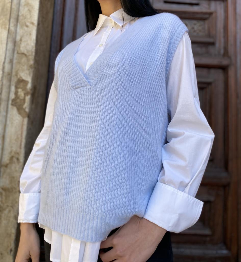 Tasselli Cashmere Gilet di Puro Cashmere Ultralight Made In Italy